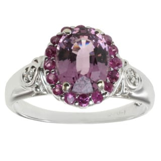 14k White Gold Purple Spinel, Pink Sapphire and Diamond Ring (I-J, I1-I2)