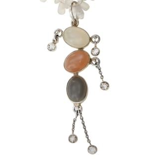 Sterling Silver White, Peach and Grey Moonstone and White Topaz Necklace