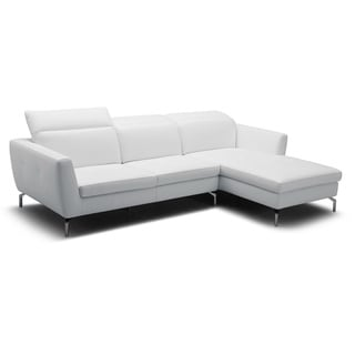 Baxton Studio Geddis Pale Gray Leather Modern Sectional Sofa