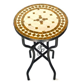Iron Mosaic Tan/Natural Side Table (Morocco)