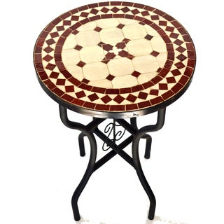 Iron Mosaic Burgundy/Natural Side Table (Morocco)