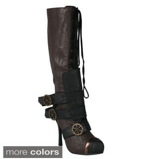 Ellie Women's '420-Quinley' Knee High Steampunk Boot