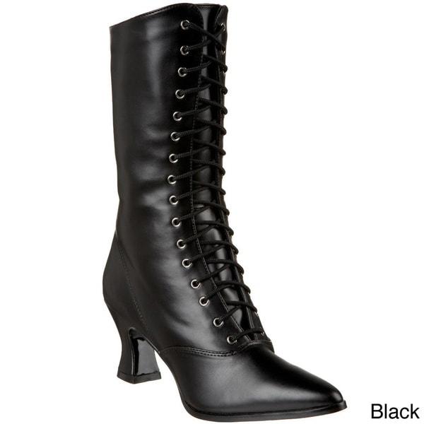 Funtasma Women's 'Victorian-120' 2 3/4-inch Kitty Heel Lace-up Mid Calf Victorian Boots