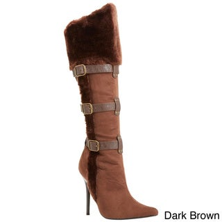 Funtasma Women's 'Viking-102' Knee High Boot With Faux Fur Cuff and Trim