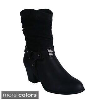 Reneeze Women's 'Gain-01' Cowboy Style Mid Calf Boots