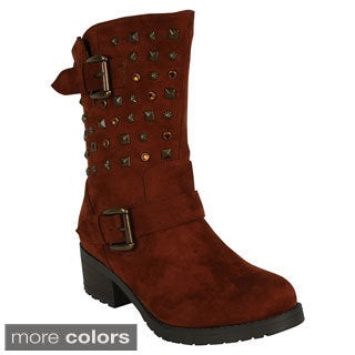 Mark & Maddux Women's 'Christoph-02' Faux Suede Round Toe Mid Calf Boots