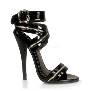 Pleaser Women's 'Domina-119' Black Zipper Inlaid Wrap-around Heels