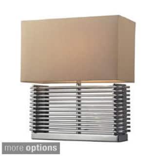 Andros 2-light Slatted Chrome Table Lamp