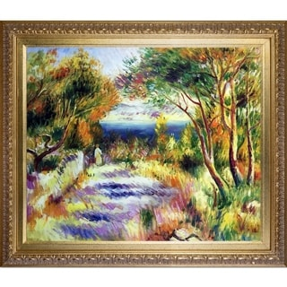 Pierre Auguste Renoir 'L'Estaque' Hand Painted Framed Canvas Art