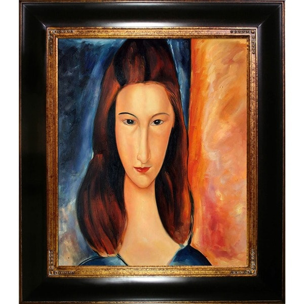 Amedeo Modigliani 'Portrait of Jeanne Hebuterne' Hand Painted Framed Canvas Art 11904815
