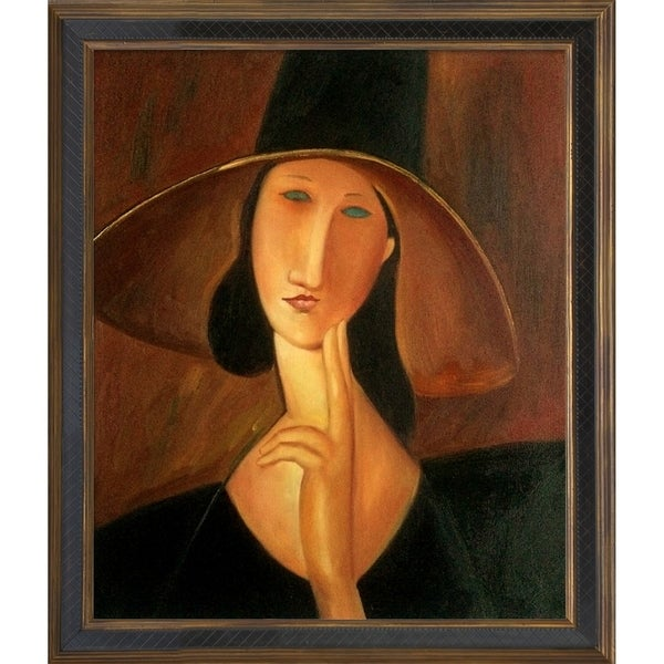 Amedeo Modigliani 'Jeanne Hebuterne in Large Hat' Hand Painted Framed Canvas Art 11904819