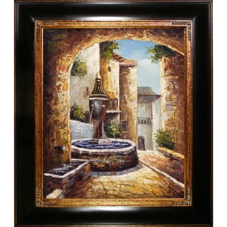 'Greek Villa I' Hand Painted Framed Canvas Art