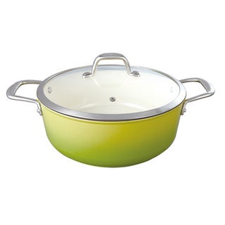 Le Cuistot Enameled Vieille France Cast-Iron 5-quart Two-tone Green Dutch Oven with Glass Lid