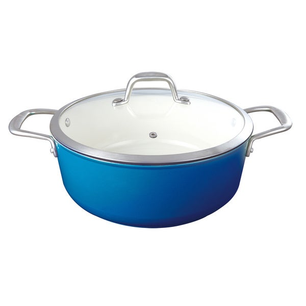 Le Cuistot Enameled 2 Tone Blue Cast-Iron 5 Quart Dutch Oven With Glass Lid