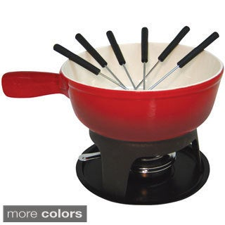 Le Cuistot Enameled 8.25-inch Cast-iron Cheese Fondue Set