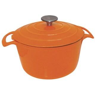 Le Cuistot Vieille France Enameled Cast-iron Round Bright Orange Casserole