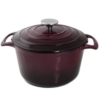 Le Cuistot Vieille France Enameled 2 Tone Aubergine Cast-Iron Round Casserole Pot
