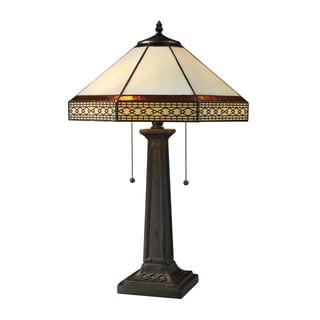 Stone Filigree 2-light Tiffany Style Bronze Table Lamp