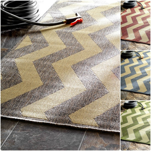 Outdoor Rug 7 X 10: NuLOOM Modern Indoor/ Outdoor Vertical Chevron Grey Rug (7