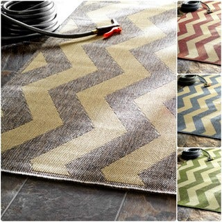 nuLOOM Modern Indoor/ Outdoor Vertical Chevron Grey Rug (5' 3 x 7' 9)