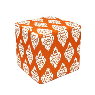 Orange Damask square Pouf Ottoman (India)