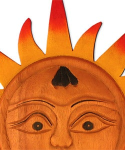 Hand-carved Sun Wood Wall Hanging