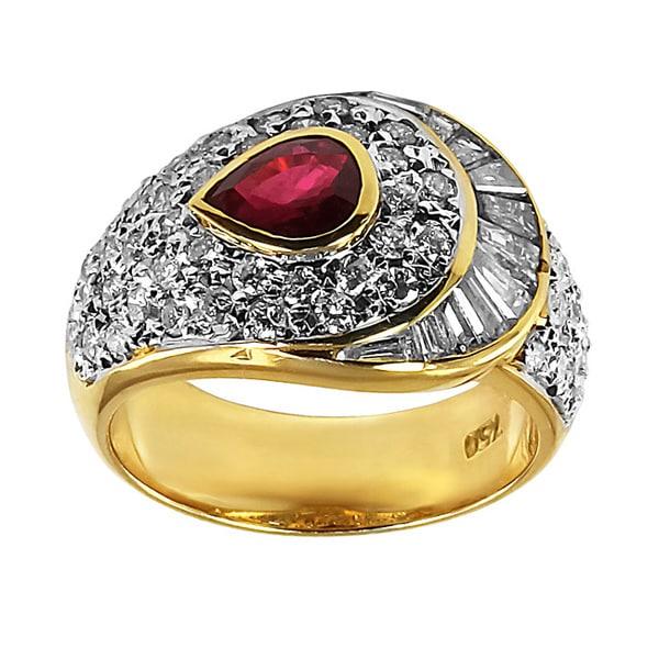 Contessa 18k Yellow Gold Ruby and 1 3/4ct TDW Diamond Ring (G-H, I1-I2)