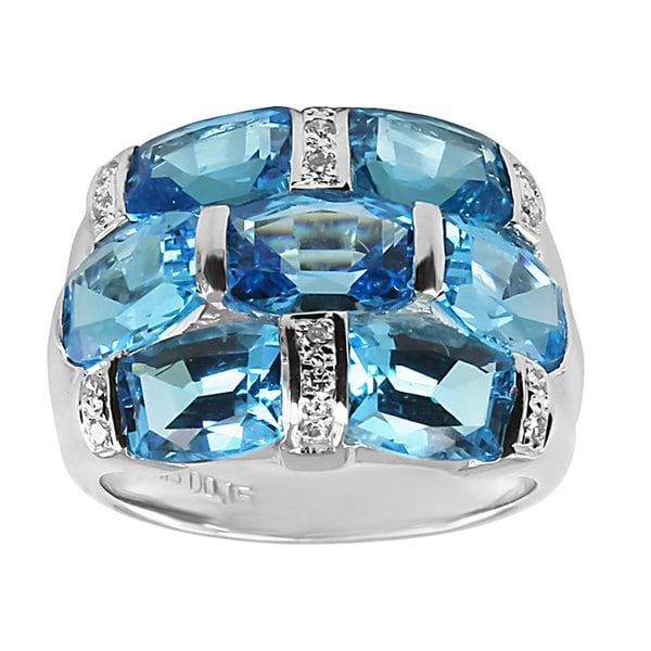 Contessa 14k White Gold Blue Topaz and 1/6ct TDW Diamond Ring (H-I, I1-I2)