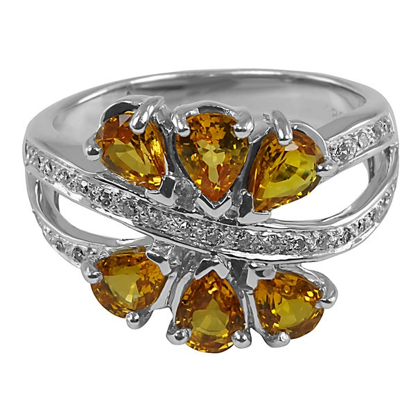 Contessa 14k White Gold Yellow Sapphire and 1/6ct TDW Diamond Ring (H-I, I2-I3)