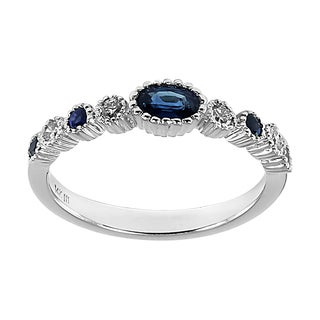 14k White Gold Blue Sapphire and 1/8ct TDW Diamond Ring (H-I, I1-I2)