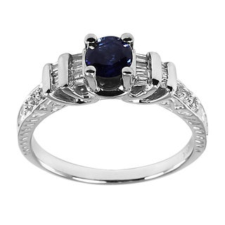 14k White Gold Blue Sapphire and 1/5ct TDW Diamond Ring (H-I, I1-I2)