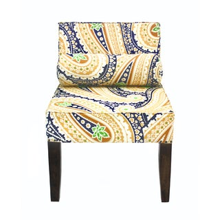Isabelle Navy and Yellow Paisley Armless Accent Chair (India)