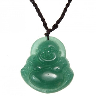Handmade Green Jade Happy Buddha Necklace (China)