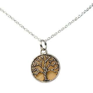 Amber Tree of Life Pendant Necklace