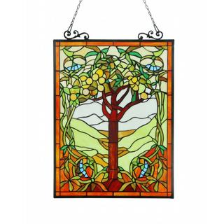 Tiffany Style Tree of Life Window Art Glass Panel
