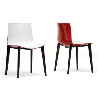Baxton Studio Soren White and Red Modern Dining Chairs (Set of 2)