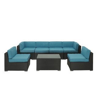 Outdoor Patio 7-piece Espresso/ Turquoise Sectional Set