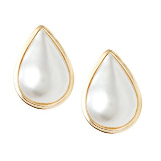 14k Gold Modern Vintage Drop Pearl Earrings
