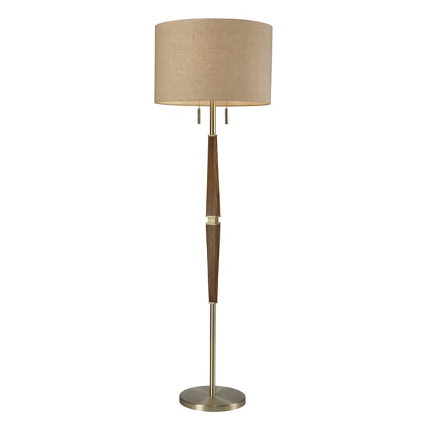 Wood 2-light Satin Brass Floor Lamp