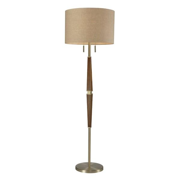 Wood 2 light satin brass floor lamp for Overstock chandelier floor lamp