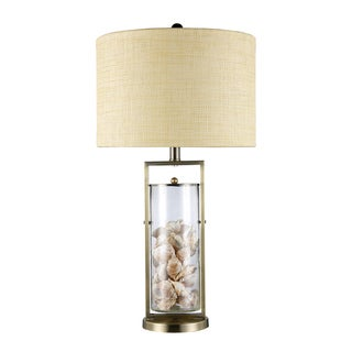 Millisle 1-Light Antique Brass and Glass Sea Shell Table Lamp