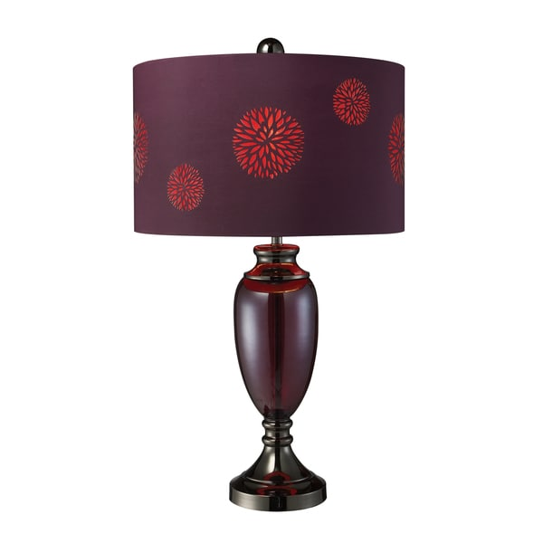 Vienna Black Chrome and Plum Floral Table Lamp