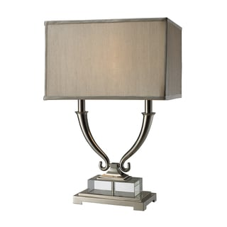 Roberts 2-Light Polished Nickel and Clear Crystal Table Lamp