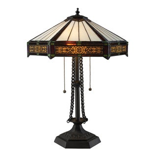 Filigree 2-Light Tiffany Style Bronze Table Lamp