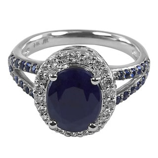 14k White Gold Blue Sapphire and 1/3ct TDW Diamond Ring (H-I, I1-I2)