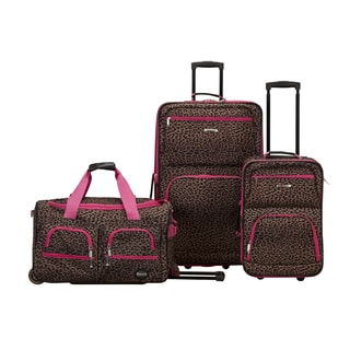 Rockland Perfect Ensemble Pink Leopard 3-piece Rolling Expandable Upright Luggage Set