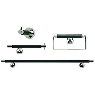 Chrome and Black Leather 4-piece Bathroom Accessory Set