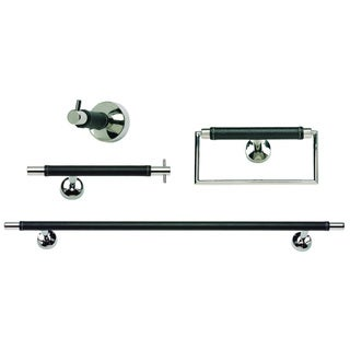 Chrome and Black Leather 4-piece Bathroom Accessory Set
