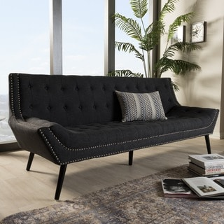 Baxton Studio Tamblin Gray Linen Modern Sofa