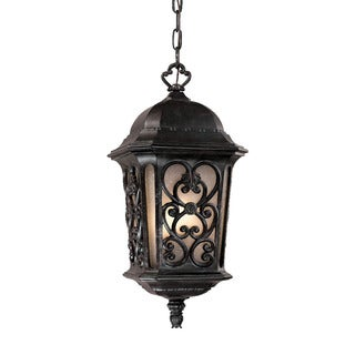 Manorgate Collection Hanging Lantern 4-Light Outdoor Marbleized Mahogany Light Fixture